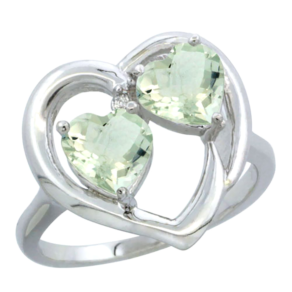 14K White Gold Diamond Two-stone Heart Ring 6mm Natural Green Amethyst, sizes 5-10