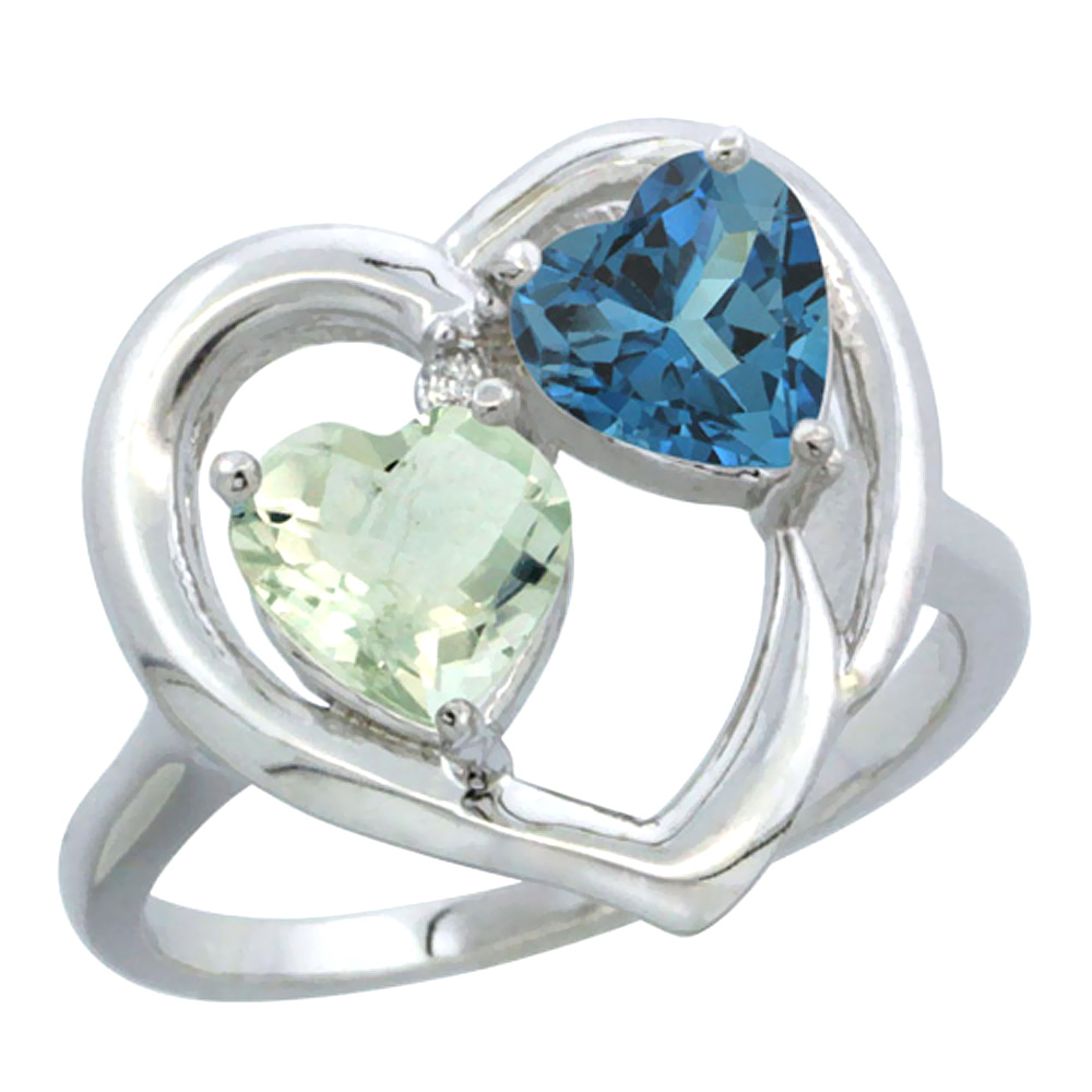 14K White Gold Diamond Two-stone Heart Ring 6mm Natural Green Amethyst & London Blue Topaz, sizes 5-10
