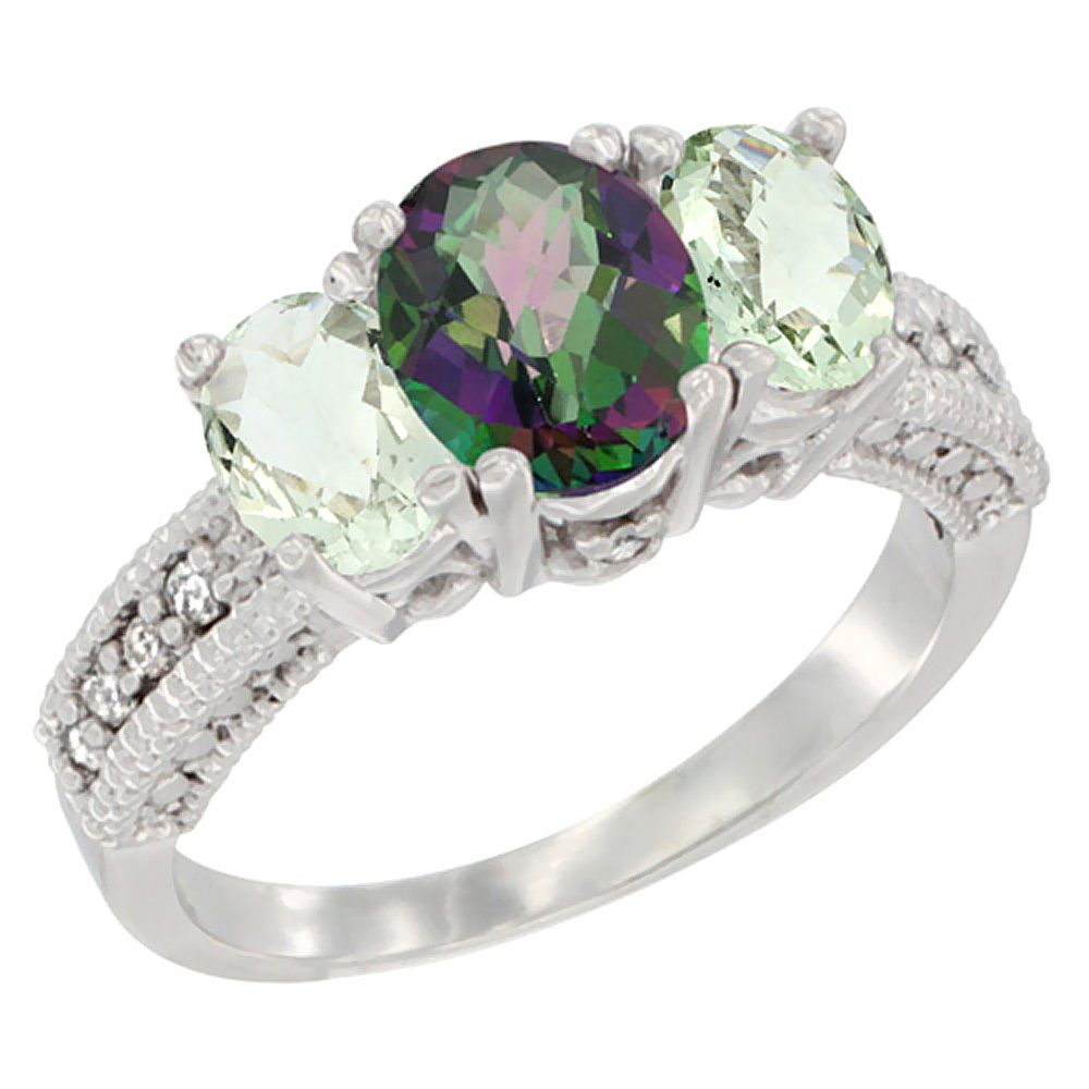 10K White Gold Diamond Natural Mystic Topaz Ring Oval 3-stone with Green Amethyst, sizes 5 - 10