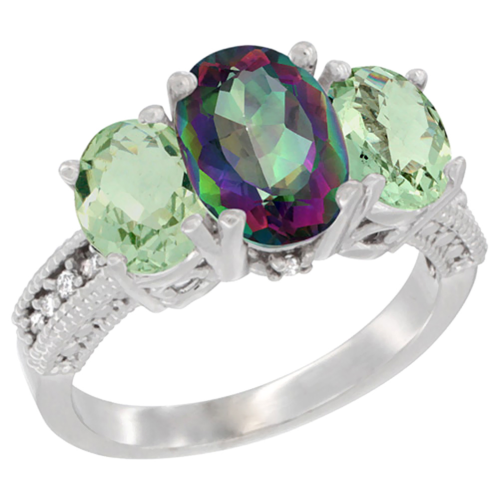 10K White Gold Diamond Natural Mystic Topaz Ring 3-Stone Oval 8x6mm with Green Amethyst, sizes5-10