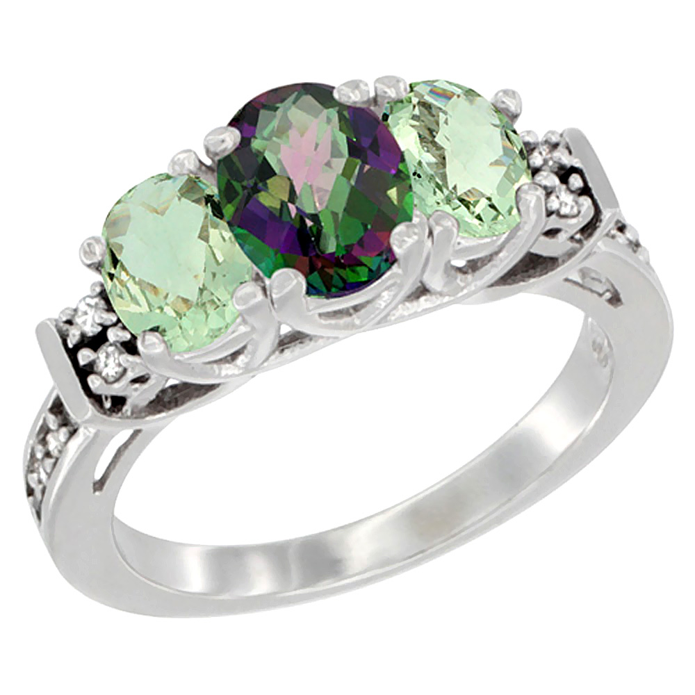 10K White Gold Natural Mystic Topaz & Green Amethyst Ring 3-Stone Oval Diamond Accent, sizes 5-10