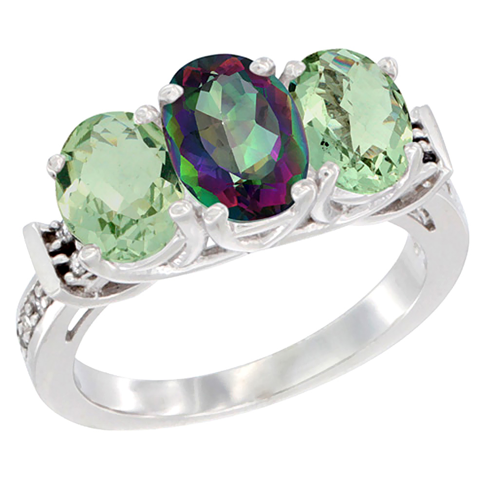 10K White Gold Natural Mystic Topaz & Green Amethyst Sides Ring 3-Stone Oval Diamond Accent, sizes 5 - 10