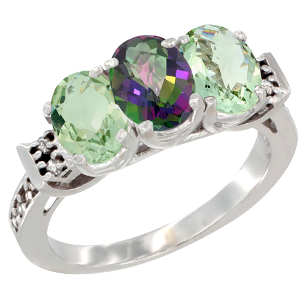 10K White Gold Natural Mystic Topaz & Green Amethyst Sides Ring 3-Stone Oval 7x5 mm Diamond Accent, sizes 5 - 10