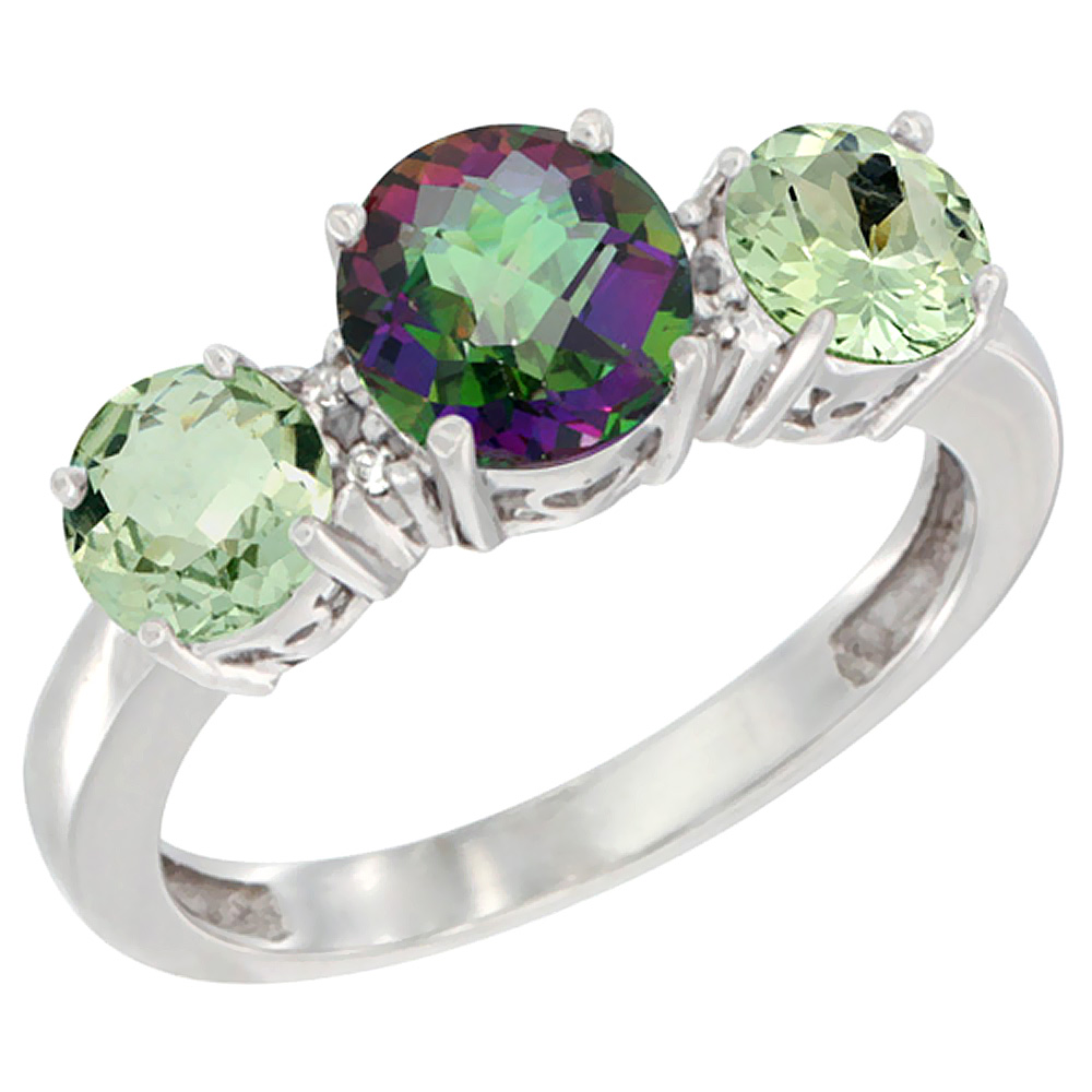 10K White Gold Round 3-Stone Natural Mystic Topaz Ring & Green Amethyst Sides Diamond Accent, sizes 5 - 10