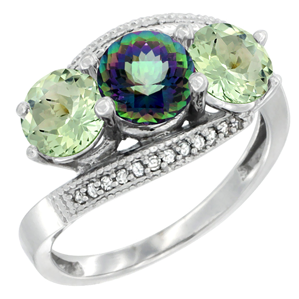 10K White Gold Natural Mystic Topaz & Green Amethyst Sides 3 stone Ring Round 6mm Diamond Accent, sizes 5 - 10