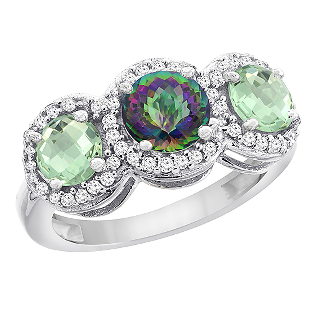 10K White Gold Natural Mystic Topaz & Green Amethyst Sides Round 3-stone Ring Diamond Accents, sizes 5 - 10