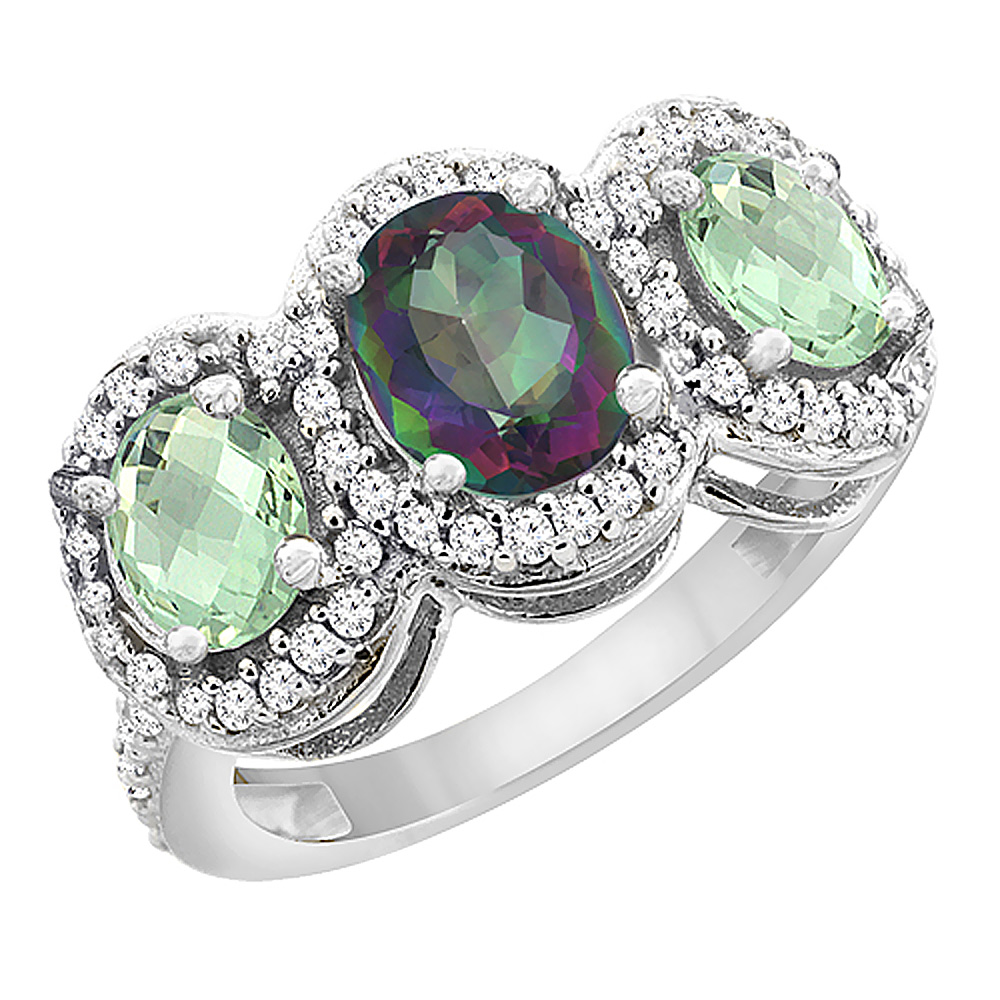 10K White Gold Natural Mystic Topaz & Green Amethyst 3-Stone Ring Oval Diamond Accent, sizes 5 - 10