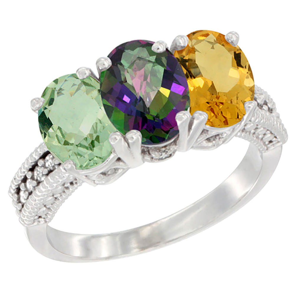 10K White Gold Natural Green Amethyst, Mystic Topaz & Citrine Ring 3-Stone Oval 7x5 mm Diamond Accent, sizes 5 - 10
