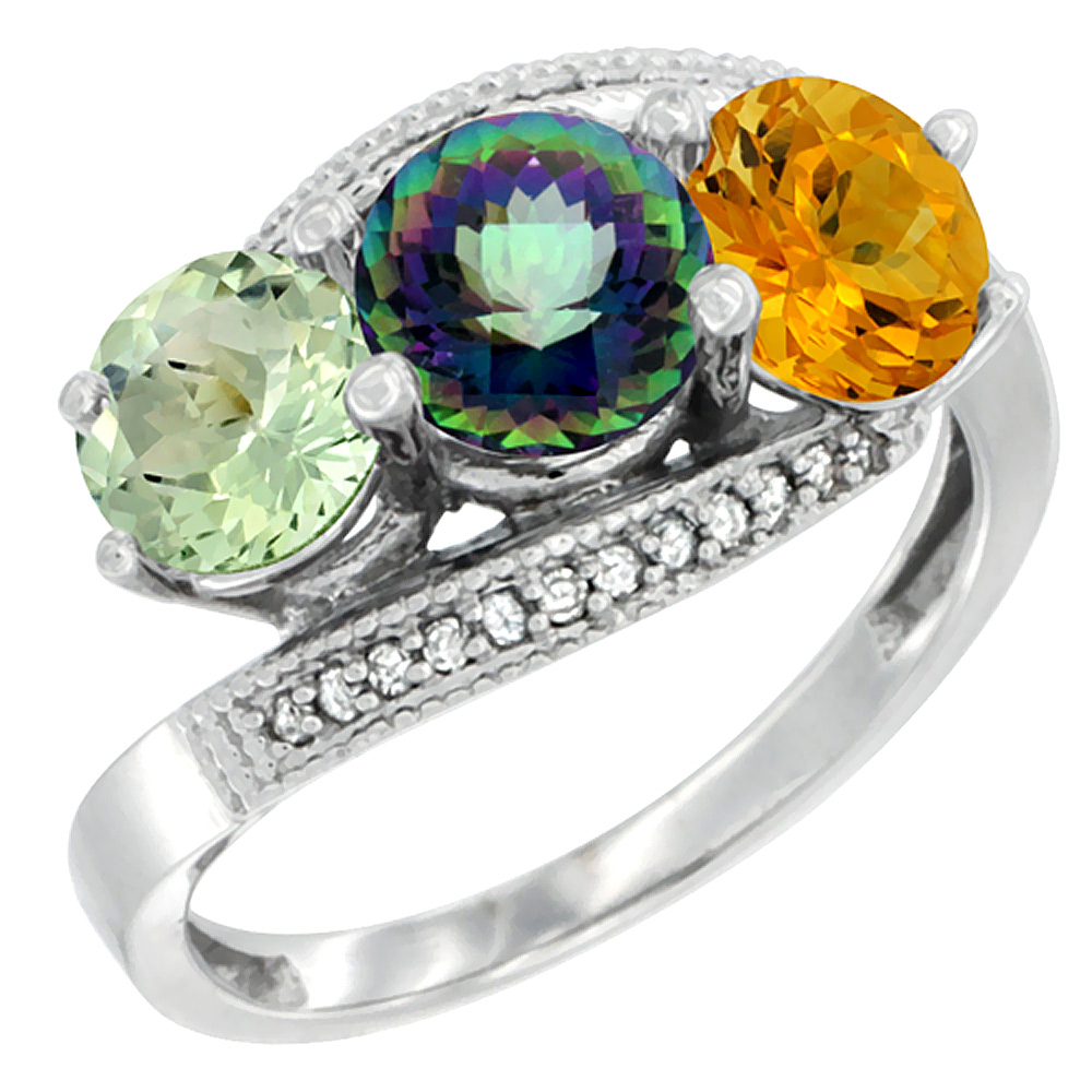 10K White Gold Natural Green Amethyst, Mystic Topaz & Citrine 3 stone Ring Round 6mm Diamond Accent, sizes 5 - 10
