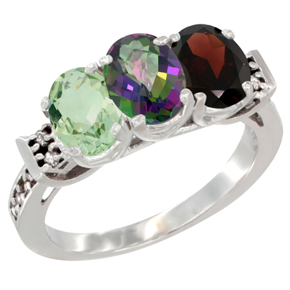10K White Gold Natural Green Amethyst, Mystic Topaz & Garnet Ring 3-Stone Oval 7x5 mm Diamond Accent, sizes 5 - 10