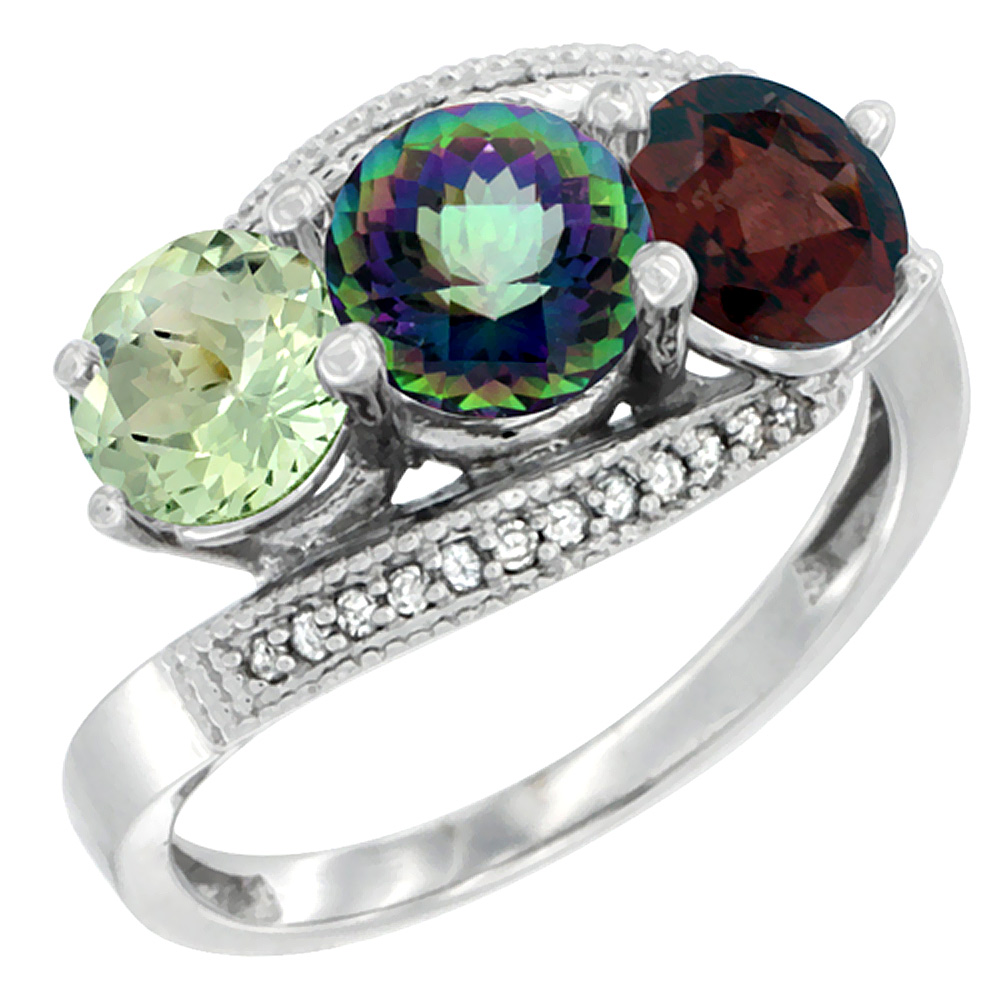 10K White Gold Natural Green Amethyst, Mystic Topaz & Garnet 3 stone Ring Round 6mm Diamond Accent, sizes 5 - 10