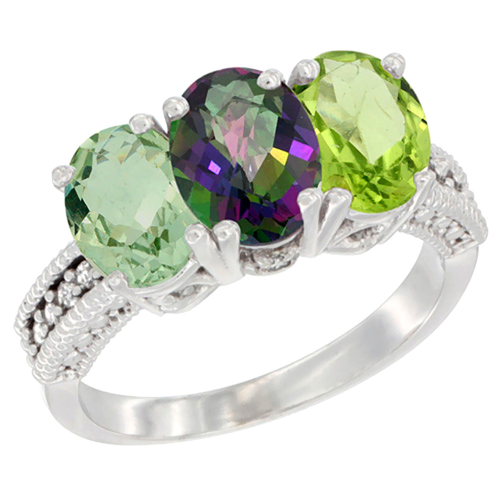 10K White Gold Natural Green Amethyst, Mystic Topaz & Peridot Ring 3-Stone Oval 7x5 mm Diamond Accent, sizes 5 - 10