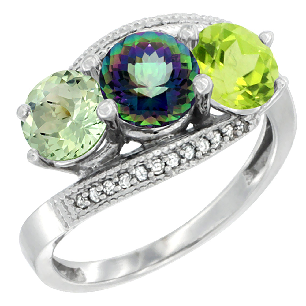 10K White Gold Natural Green Amethyst, Mystic Topaz & Peridot 3 stone Ring Round 6mm Diamond Accent, sizes 5 - 10