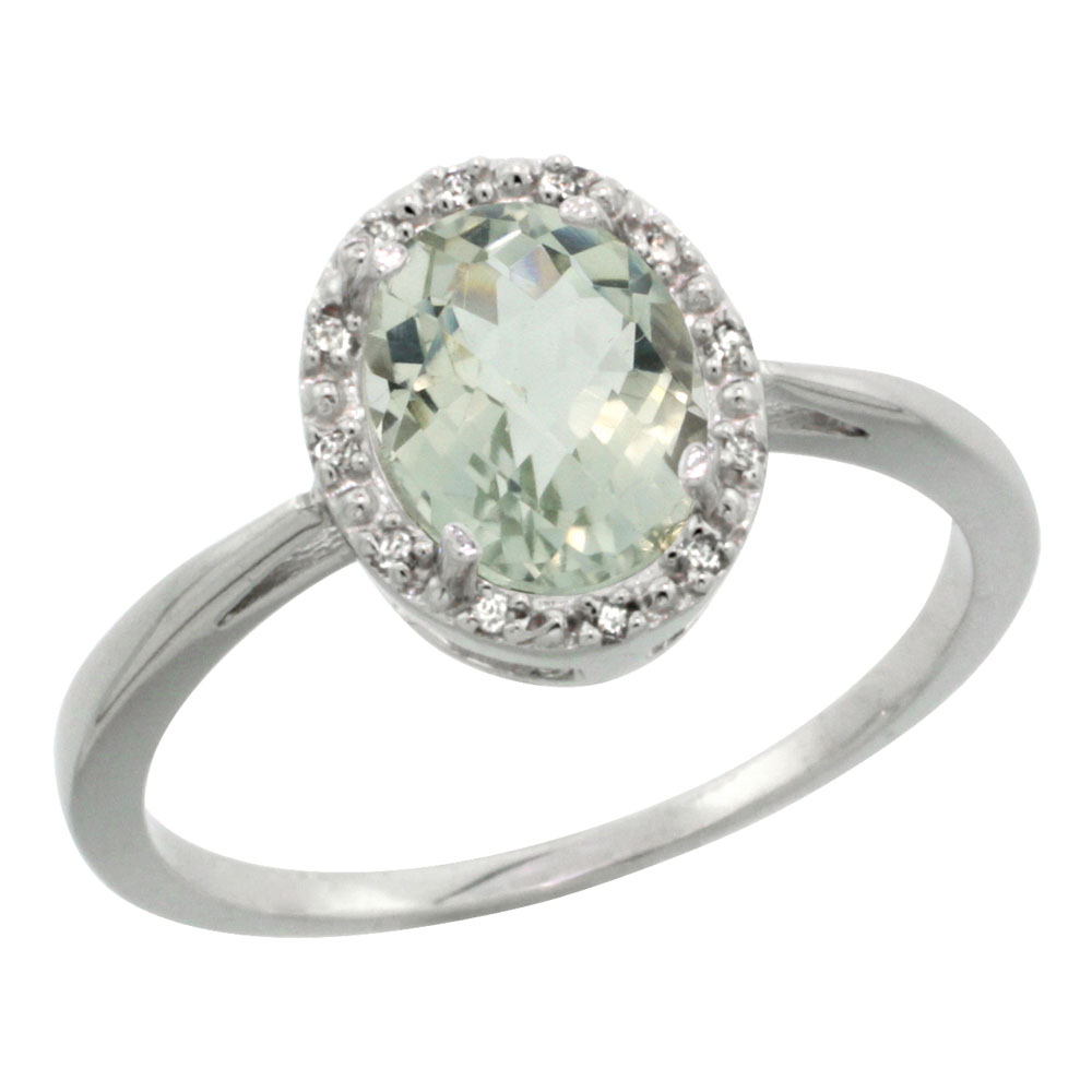 14K White Gold Natural Green Amethyst Diamond Halo Ring Oval 8X6mm, sizes 5-10