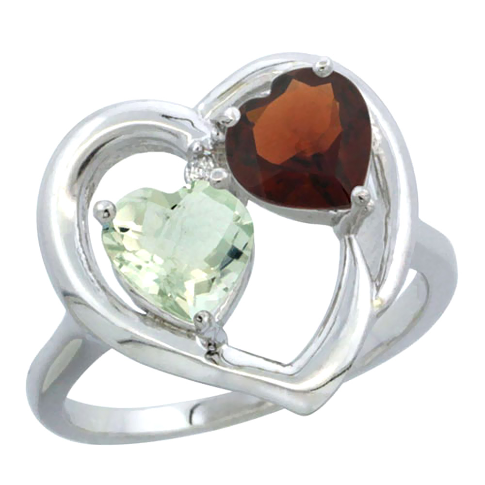 14K White Gold Diamond Two-stone Heart Ring 6mm Natural Green Amethyst & Garnet, sizes 5-10
