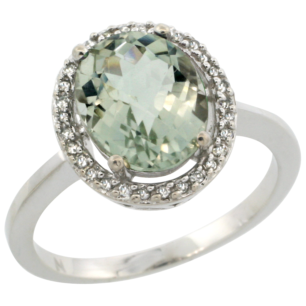 10K White Gold Diamond Halo Natural Green Amethyst Engagement Ring Oval 10x8 mm, sizes 5-10
