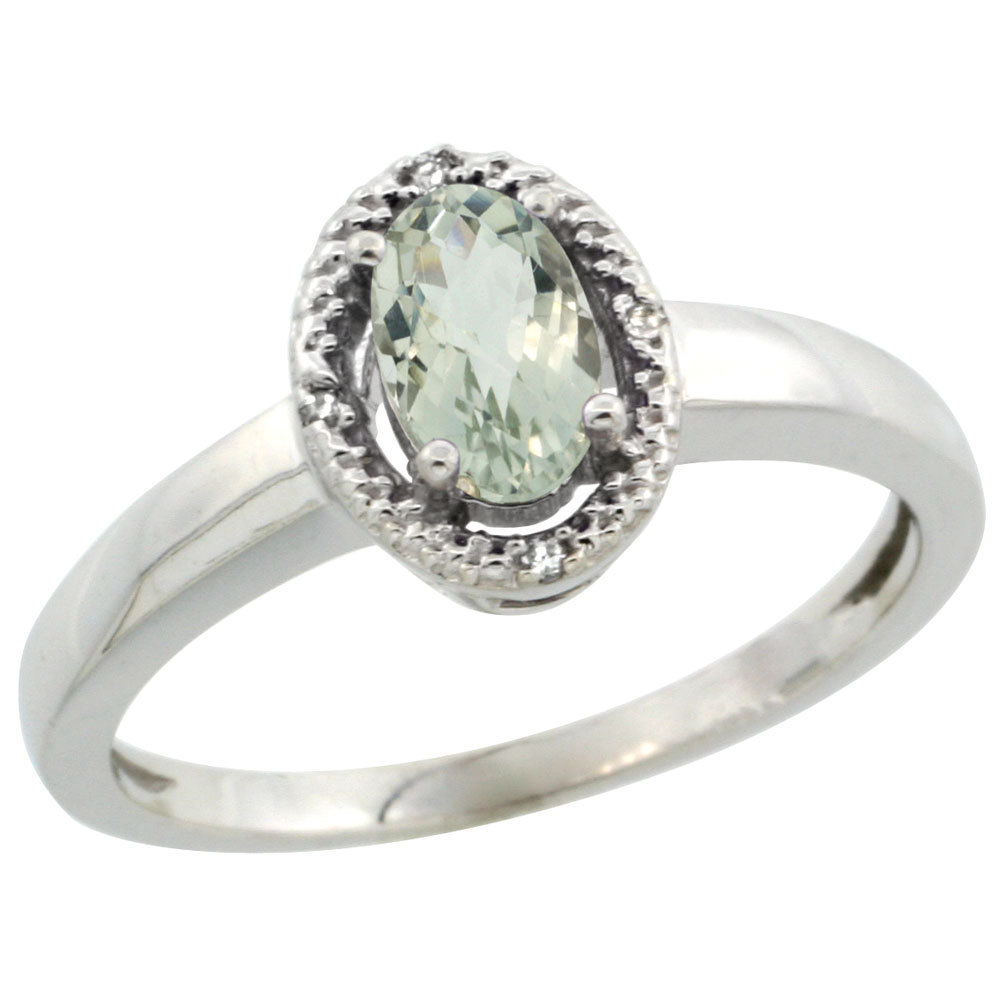 14K White Gold Diamond Halo Natural Green Amethyst Engagement Ring Oval 6X4 mm, sizes 5-10
