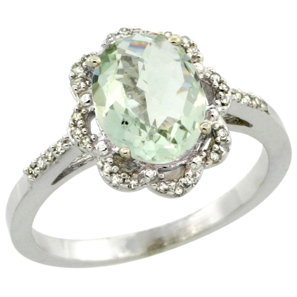 10K White Gold Diamond Halo Natural Green Amethyst Engagement Ring Oval 9x7mm, sizes 5-10