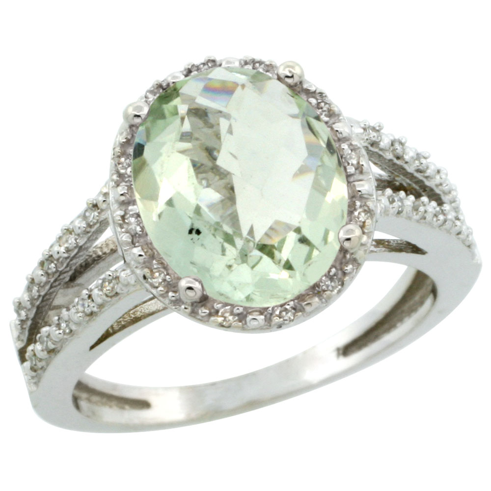 10K White Gold Diamond Natural Green Amethyst Ring Oval 11x9mm, sizes 5-10