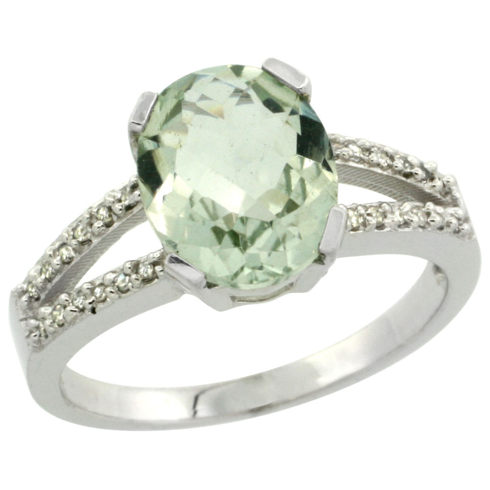 10K White Gold Diamond Natural Green Amethyst Engagement Ring Oval 10x8mm, sizes 5-10