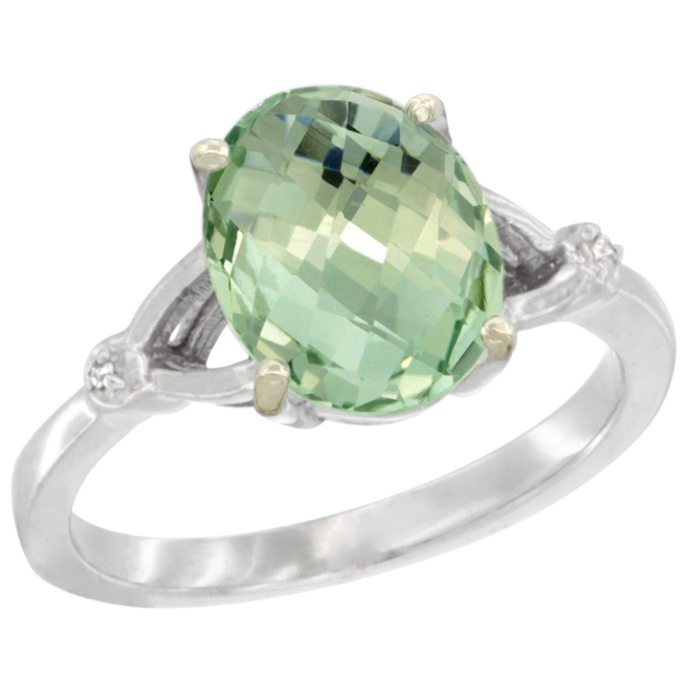 14K White Gold Diamond Natural Green Amethyst Engagement Ring Oval 10x8mm, sizes 5-10