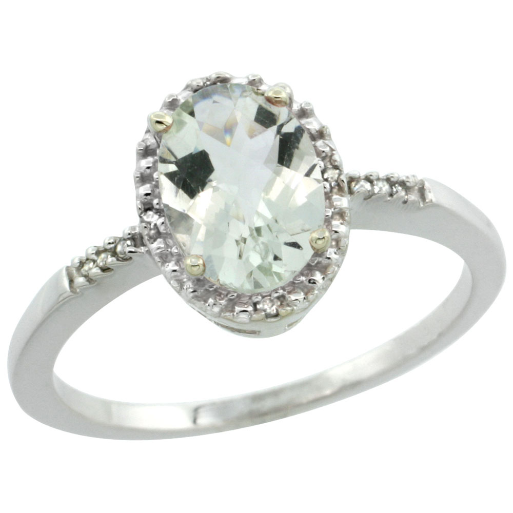 10K White Gold Diamond Natural Green Amethyst Ring Ring Oval 8x6mm, sizes 5-10