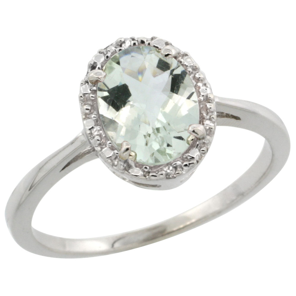 14K White Gold Natural Green Amethyst Ring Oval 8x6 mm Diamond Halo, sizes 5-10