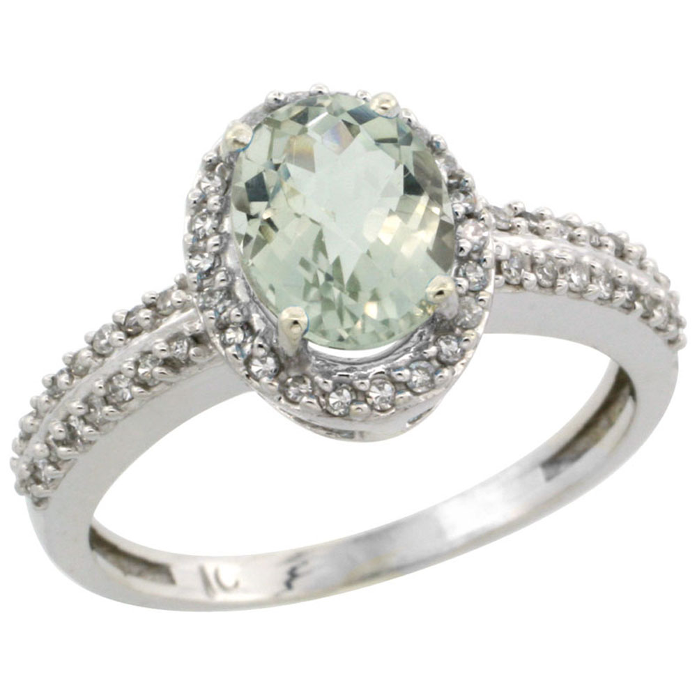 14K White Gold Natural Green Amethyst Ring Oval 8x6mm Diamond Halo, sizes 5-10
