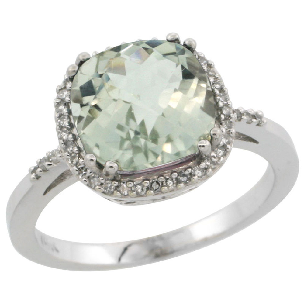 14K White Gold Diamond Natural Green Amethyst Ring Cushion-cut 9x9mm, sizes 5-10