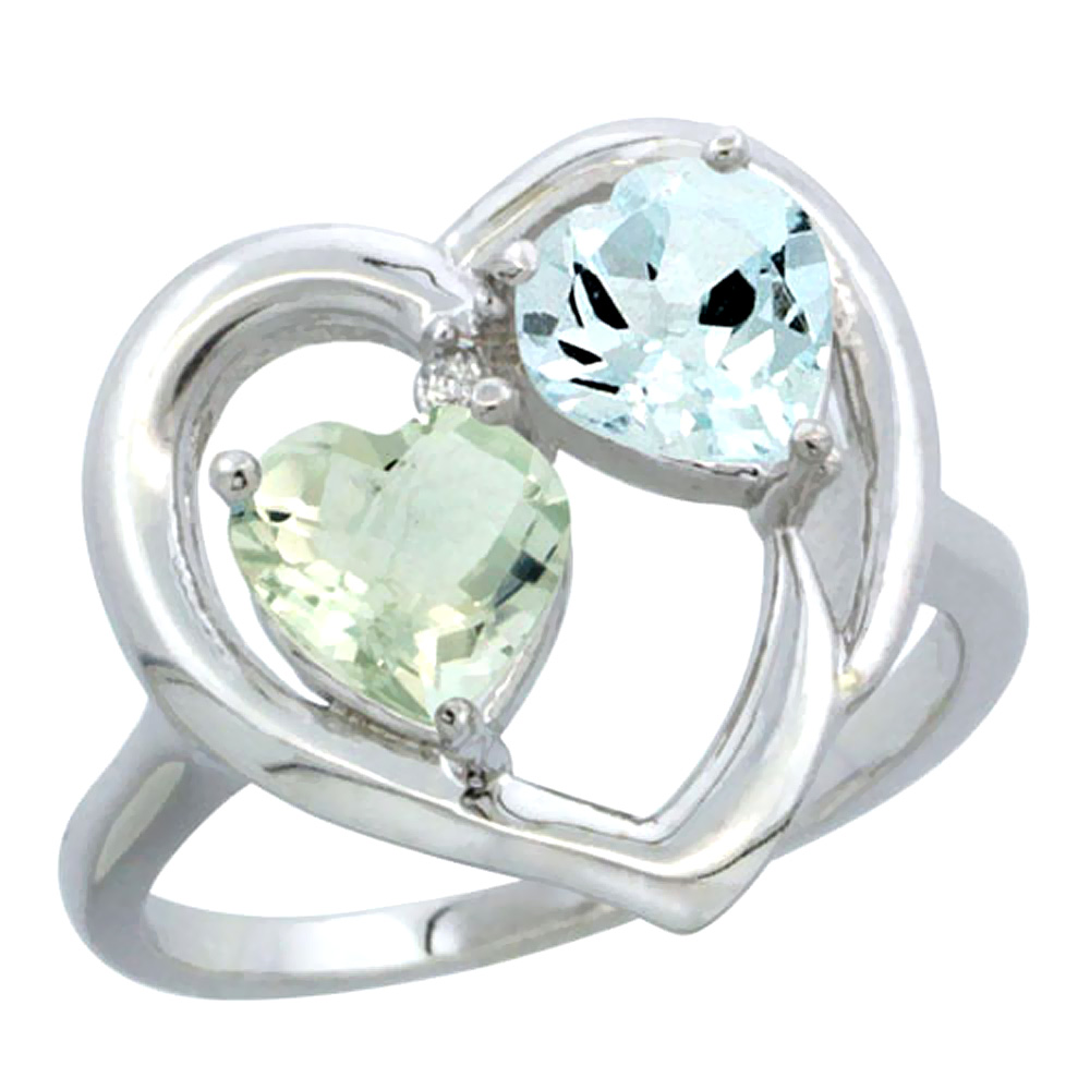 14K White Gold Diamond Two-stone Heart Ring 6mm Natural Green Amethyst & Aquamarine, sizes 5-10