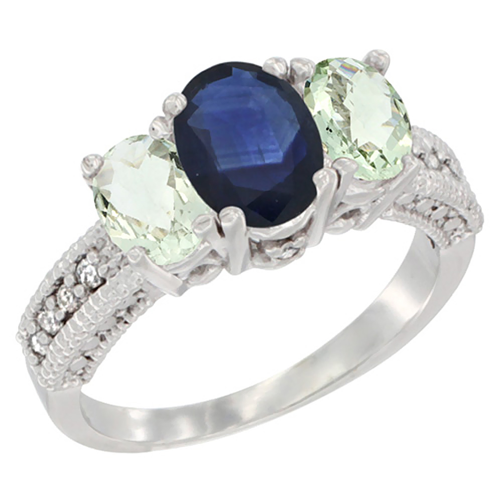 10K White Gold Diamond Natural Blue Sapphire Ring Oval 3-stone with Green Amethyst, sizes 5 - 10