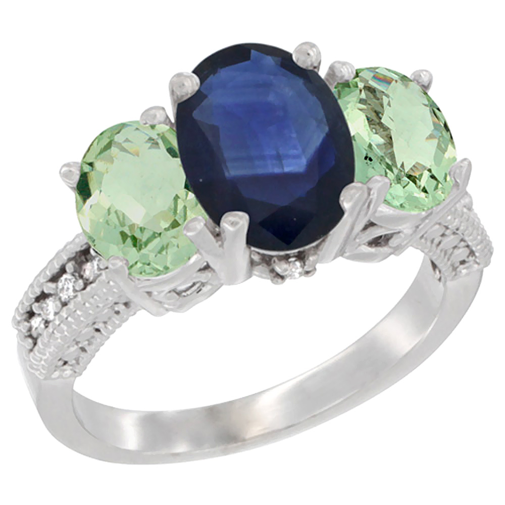 10K White Gold Natural Blue Sapphire Ring Ladies 3-Stone 8x6 Oval with Green Amethyst Sides Diamond Accent, sizes 5 - 10