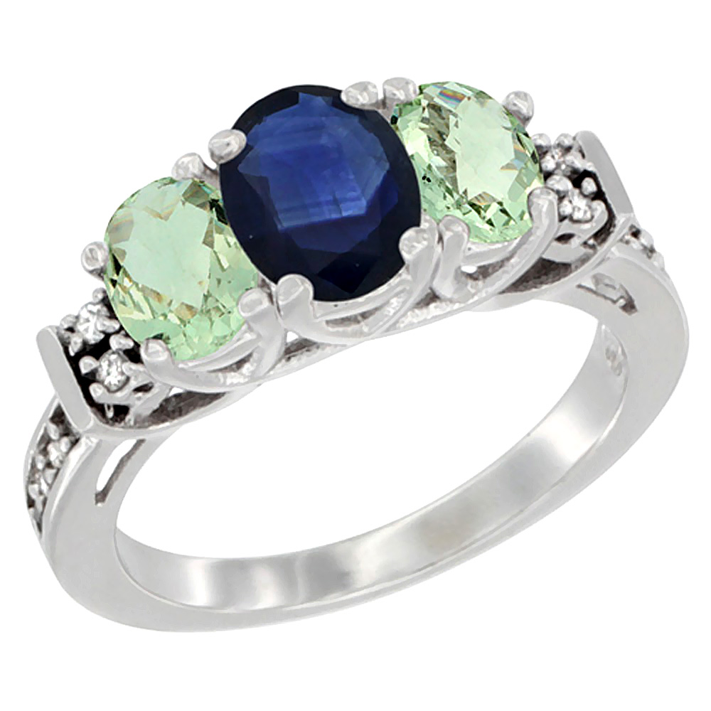 10K White Gold Natural Blue Sapphire & Green Amethyst Ring 3-Stone Oval Diamond Accent, sizes 5-10