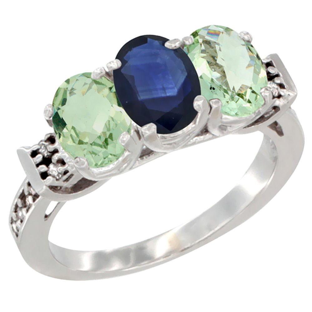 10K White Gold Natural Blue Sapphire & Green Amethyst Sides Ring 3-Stone Oval 7x5 mm Diamond Accent, sizes 5 - 10
