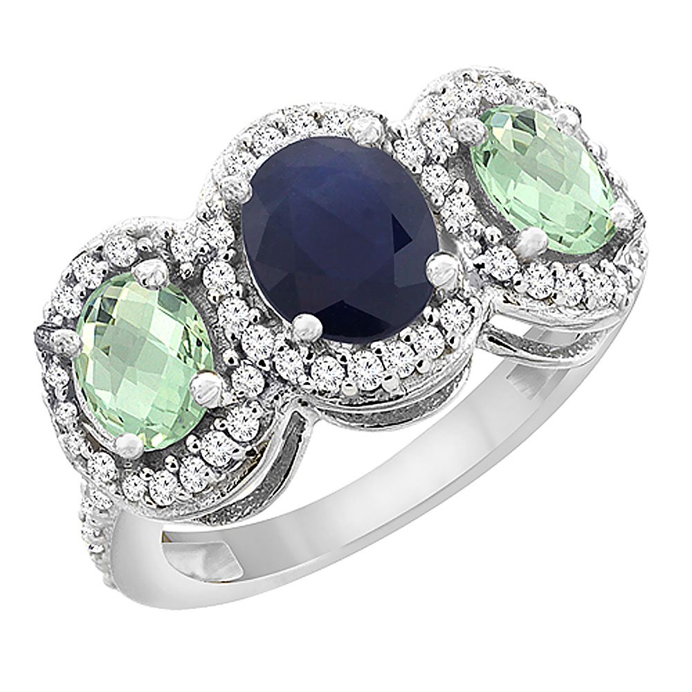 10K White Gold Natural Blue Sapphire & Green Amethyst 3-Stone Ring Oval Diamond Accent, sizes 5 - 10
