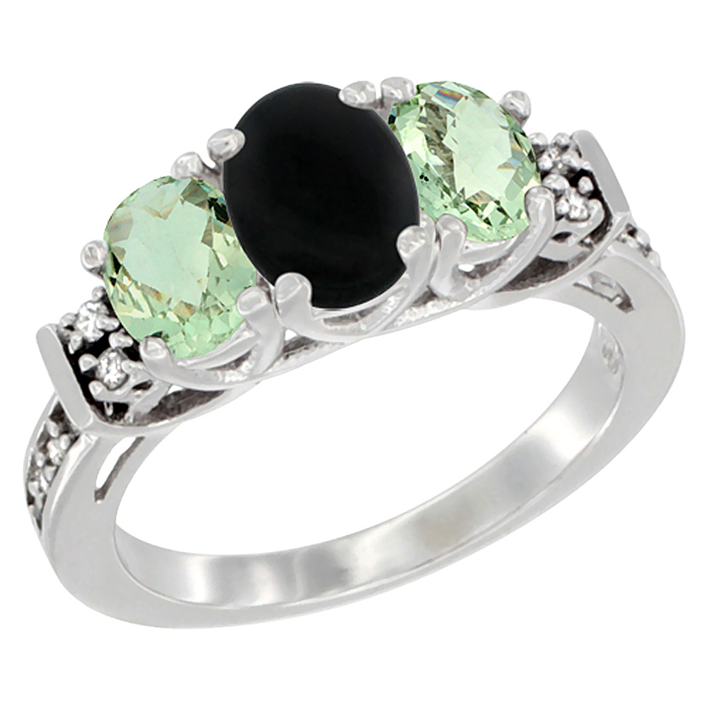 14K White Gold Natural Black Onyx & Green Amethyst Ring 3-Stone Oval Diamond Accent, sizes 5-10