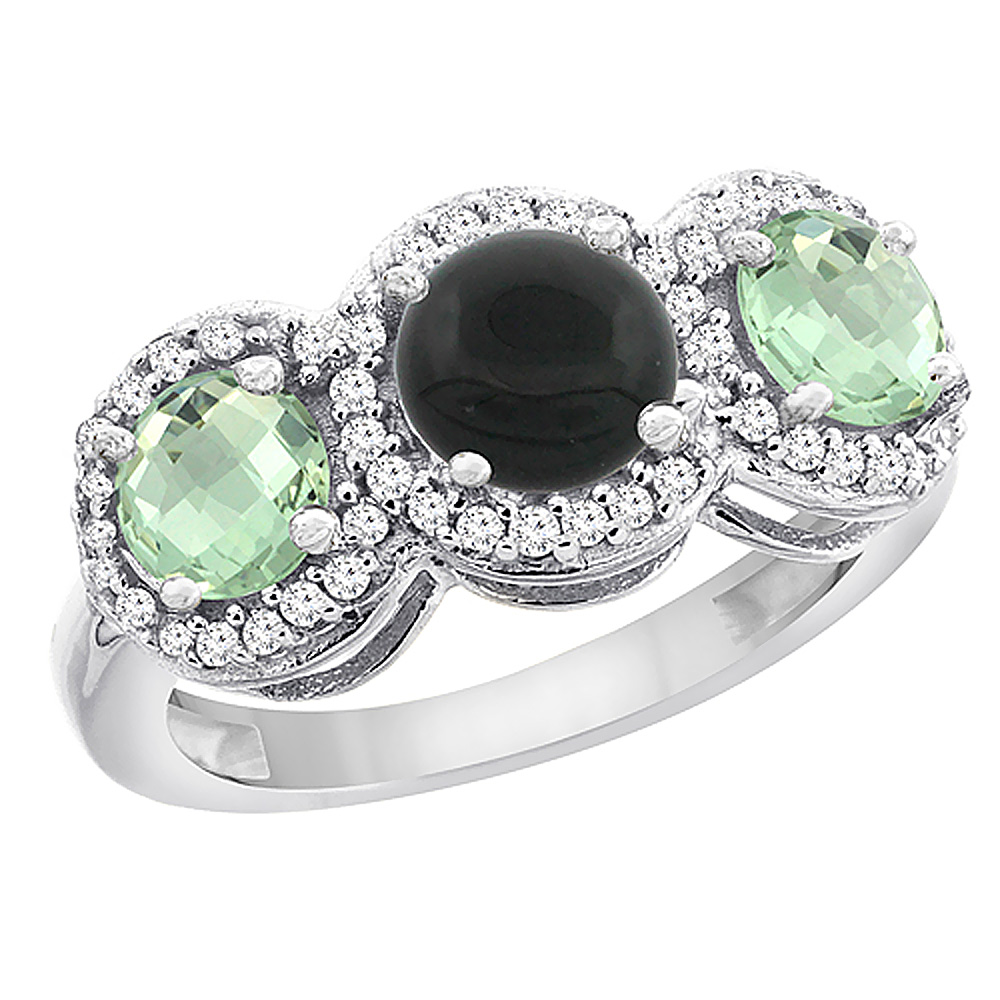 14K White Gold Natural Black Onyx & Green Amethyst Sides Round 3-stone Ring Diamond Accents, sizes 5 - 10