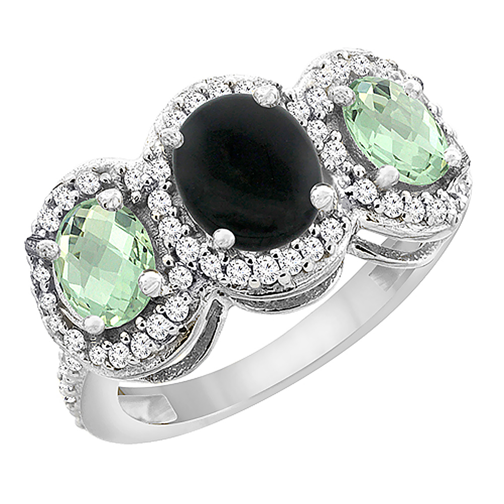 14K White Gold Natural Black Onyx & Green Amethyst 3-Stone Ring Oval Diamond Accent, sizes 5 - 10