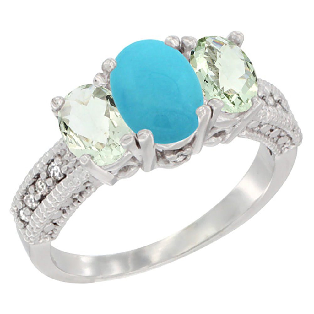 10K White Gold Diamond Natural Turquoise Ring Oval 3-stone with Green Amethyst, sizes 5 - 10