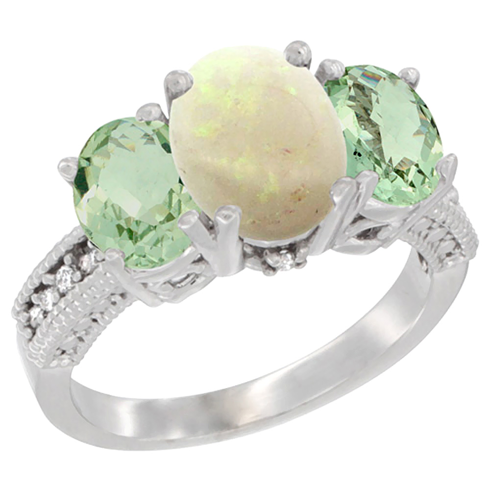 14K White Gold Natural Opal Ring Ladies 3-Stone 8x6 Oval with Green Amethyst Sides Diamond Accent, sizes 5 - 10