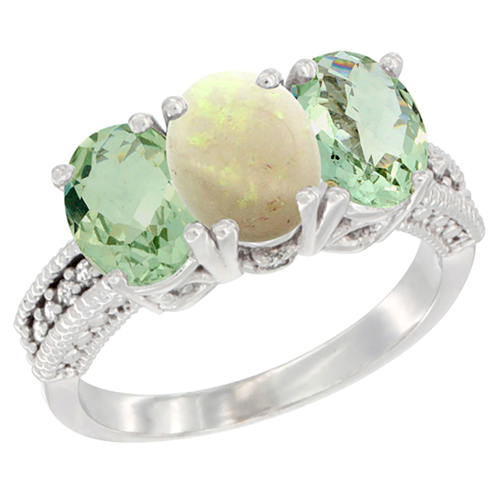 14K White Gold Natural Opal & Green Amethyst Sides Ring 3-Stone 7x5 mm Oval Diamond Accent, sizes 5 - 10
