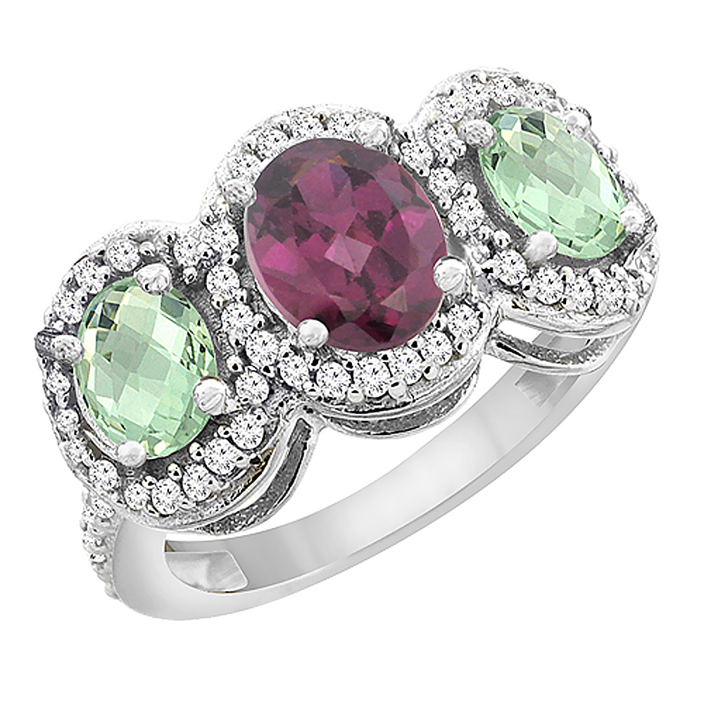14K White Gold Natural Rhodolite & Green Amethyst 3-Stone Ring Oval Diamond Accent, sizes 5 - 10