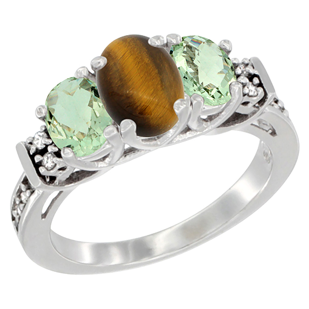 14K White Gold Natural Tiger Eye & Green Amethyst Ring 3-Stone Oval Diamond Accent, sizes 5-10
