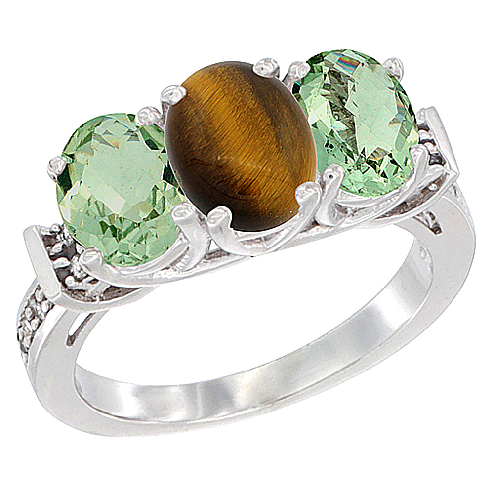 14K White Gold Natural Tiger Eye & Green Amethyst Sides Ring 3-Stone Oval Diamond Accent, sizes 5 - 10