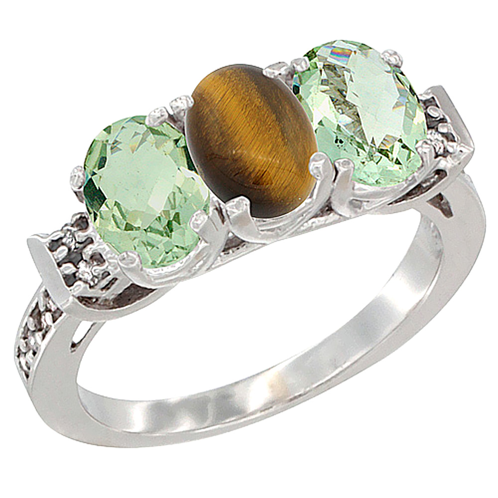 10K White Gold Natural Tiger Eye & Green Amethyst Sides Ring 3-Stone Oval 7x5 mm Diamond Accent, sizes 5 - 10