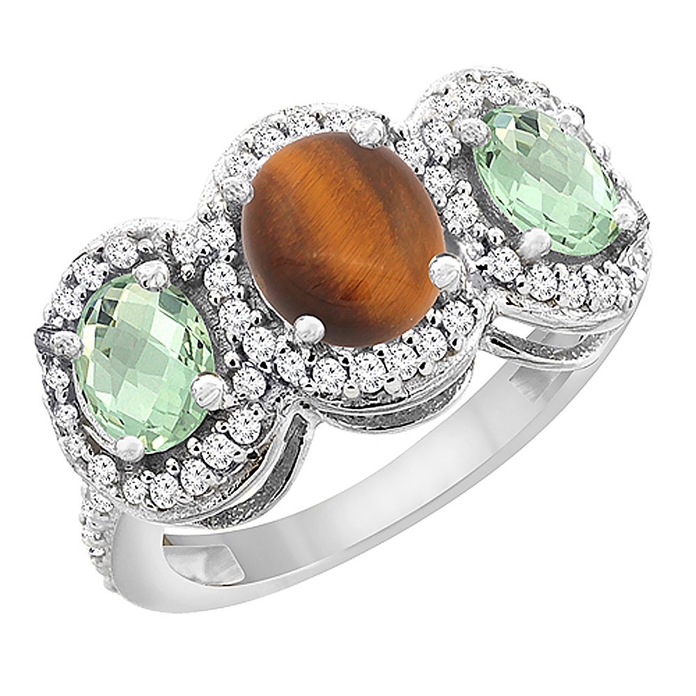 10K White Gold Natural Tiger Eye & Green Amethyst 3-Stone Ring Oval Diamond Accent, sizes 5 - 10