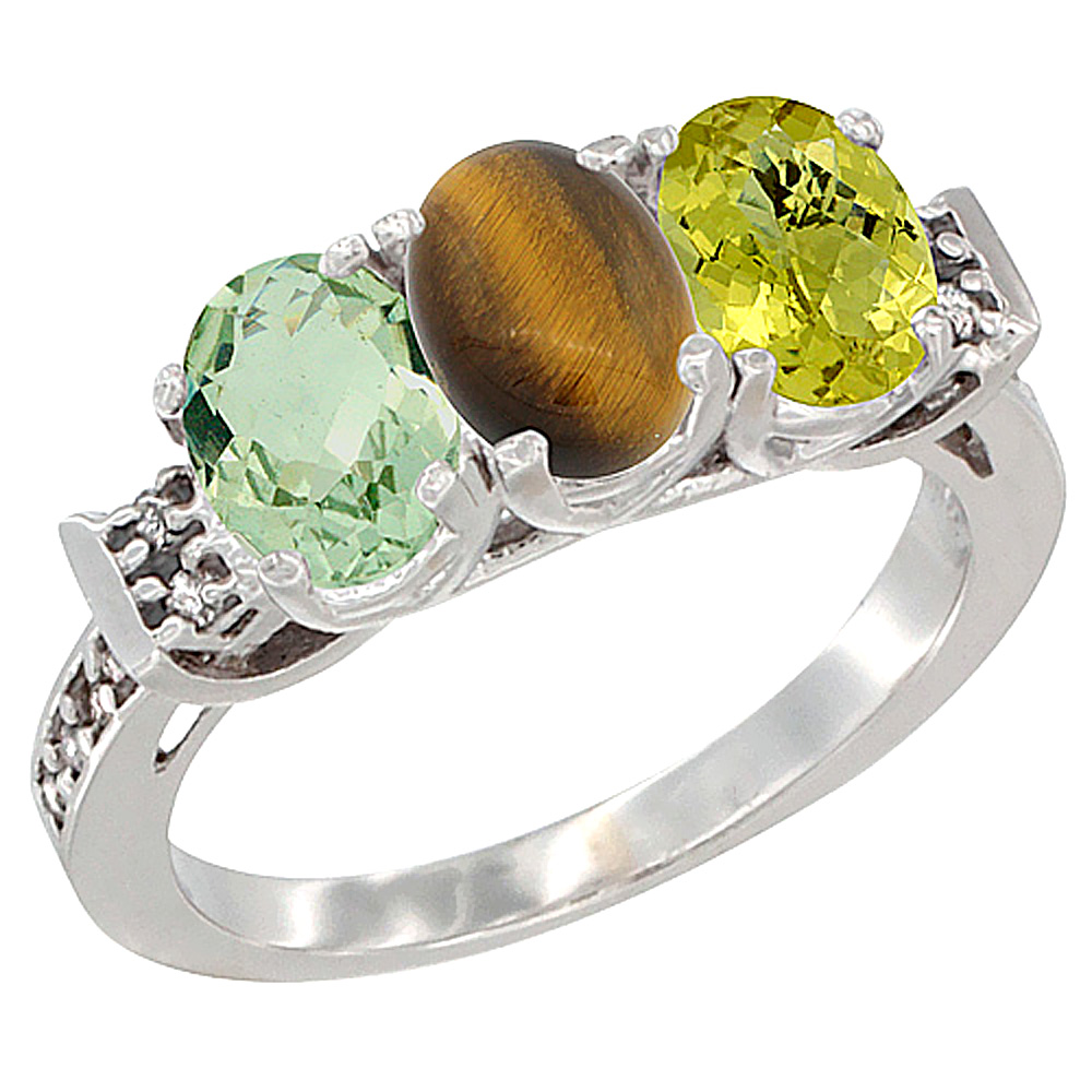 10K White Gold Natural Green Amethyst, Tiger Eye & Whisky Quartz Ring 3-Stone Oval 7x5 mm Diamond Accent, sizes 5 - 10