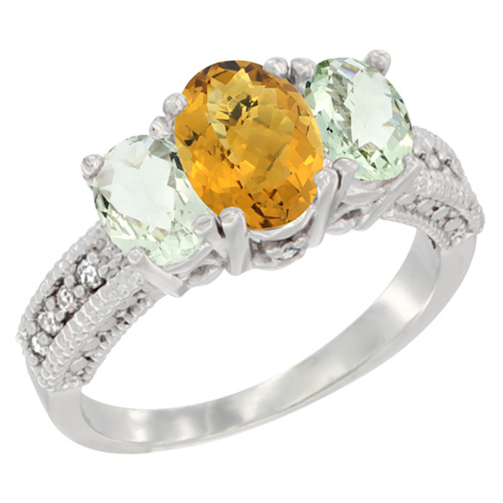 10K White Gold Diamond Natural Whisky Quartz Ring Oval 3-stone with Green Amethyst, sizes 5 - 10