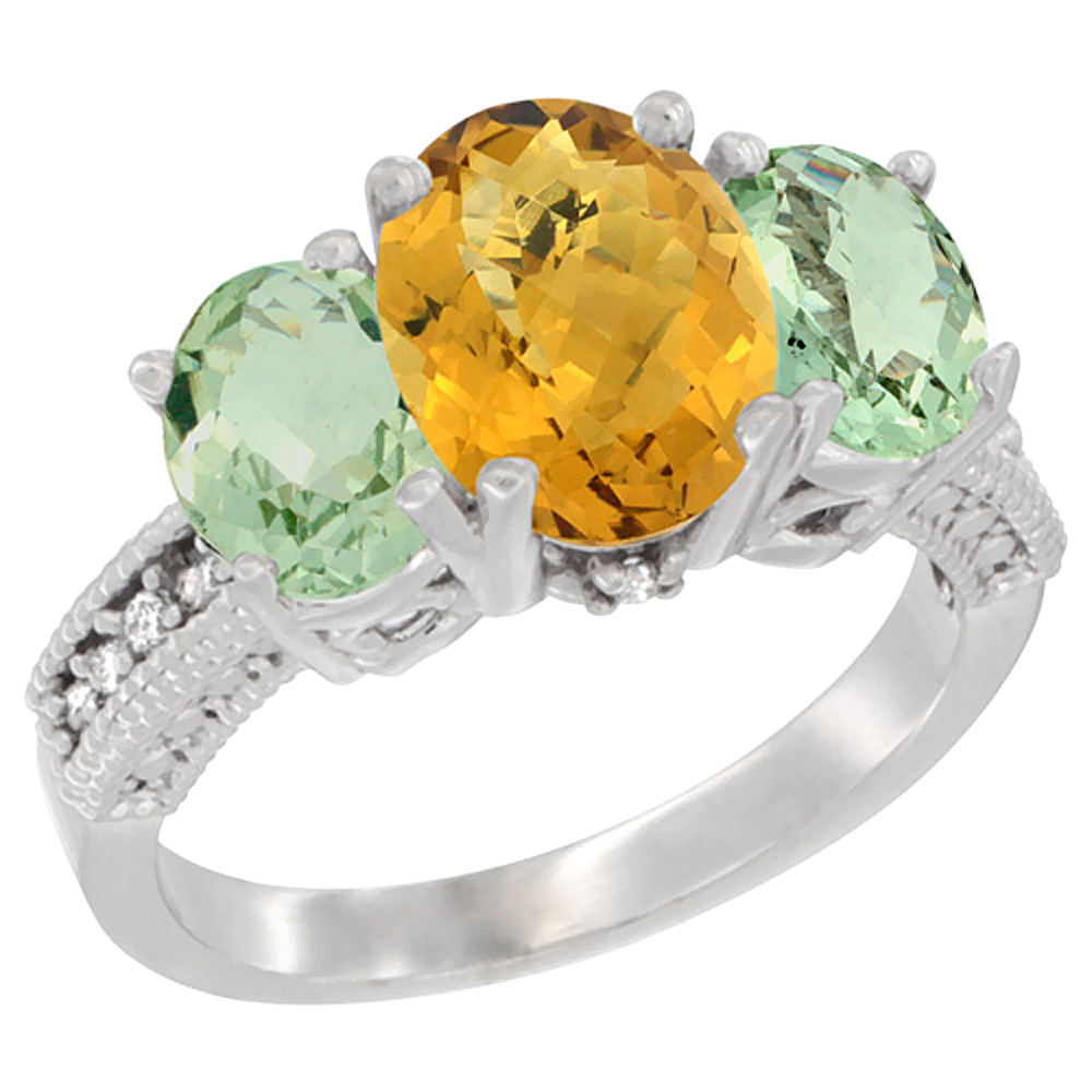 14K White Gold Natural Whisky Quartz Ring Ladies 3-Stone 8x6 Oval with Green Amethyst Sides Diamond Accent, sizes 5 - 10