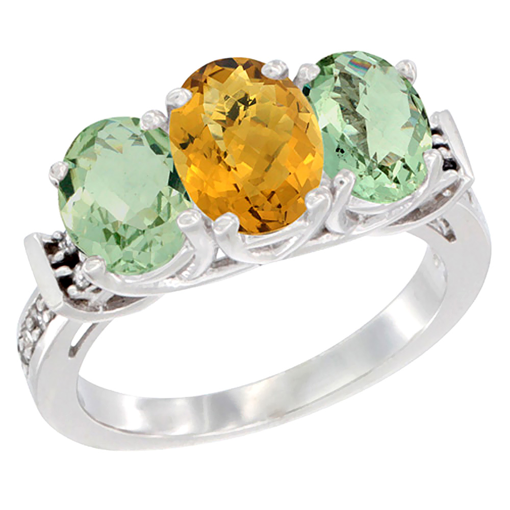 10K White Gold Natural Whisky Quartz & Green Amethyst Sides Ring 3-Stone Oval Diamond Accent, sizes 5 - 10